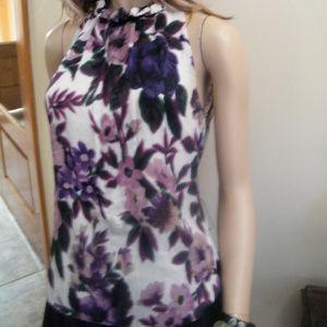 Elie Tahari floral Silk High Neck Halter Top XS
